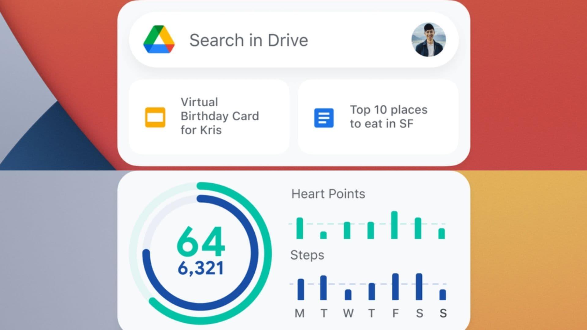 Google Drive, Fit widgets on iOS 14.
