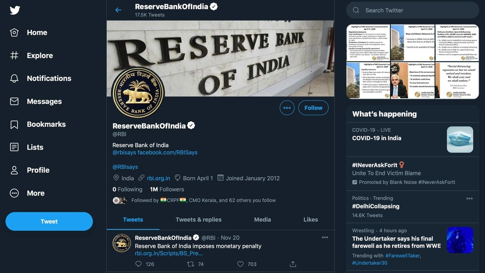 RBI has more followers than the US Federal Reserve, European Central Bank and the Bank of England on Twitter.