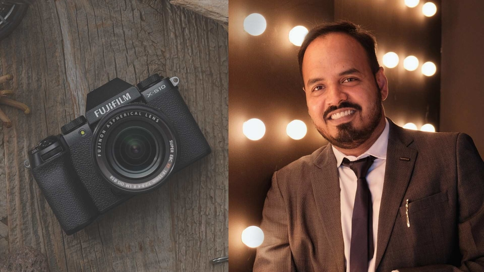 Fujifilm India's latest X-S10 camera and Arun Babu, general manager, Electronic Imaging and Optical Devices Division.
