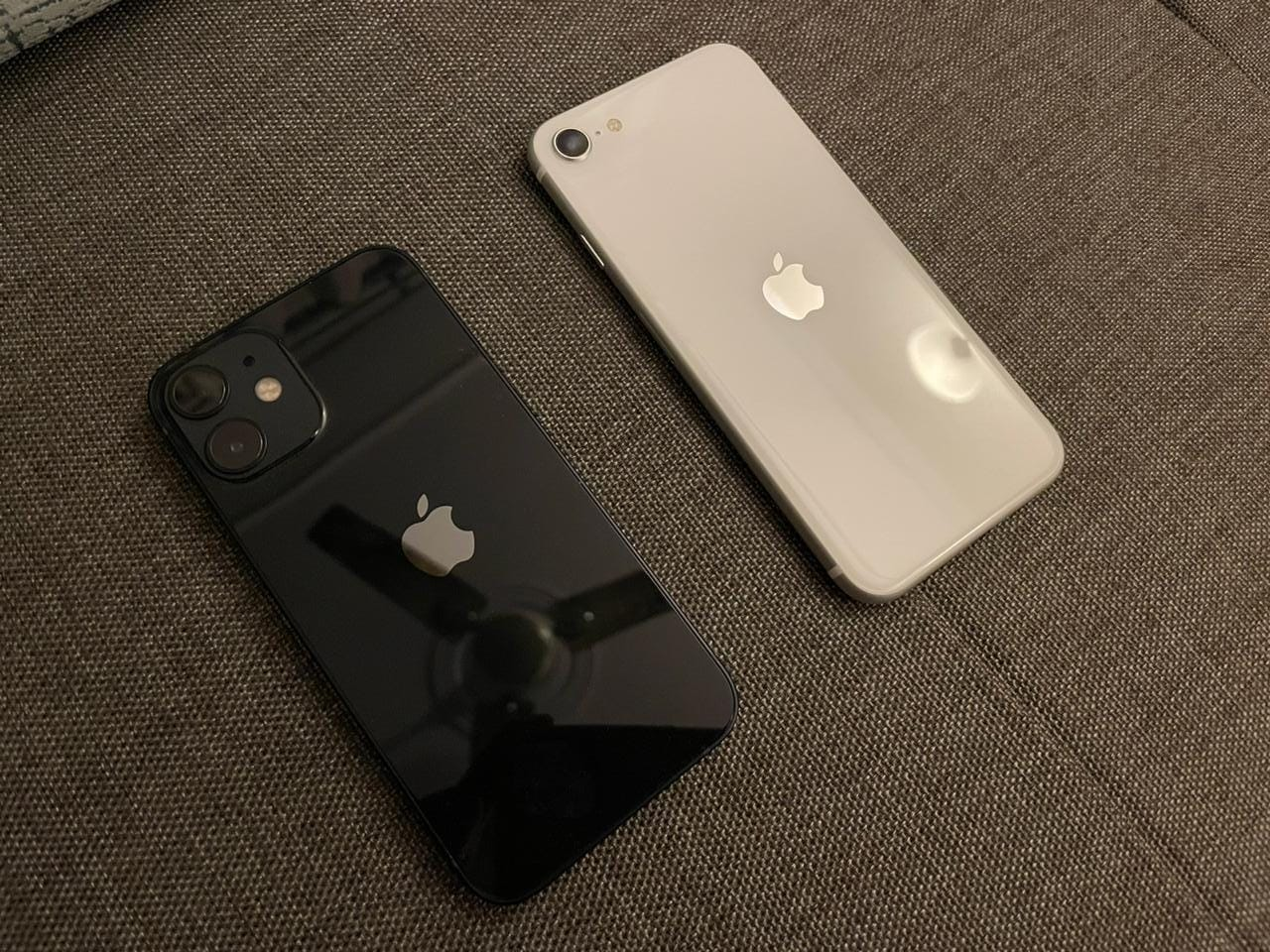The iPhone 12 mini and the iPhone SE 2020.