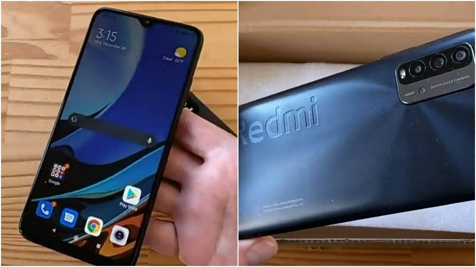 Redmi 9T unboxing video screenshot.