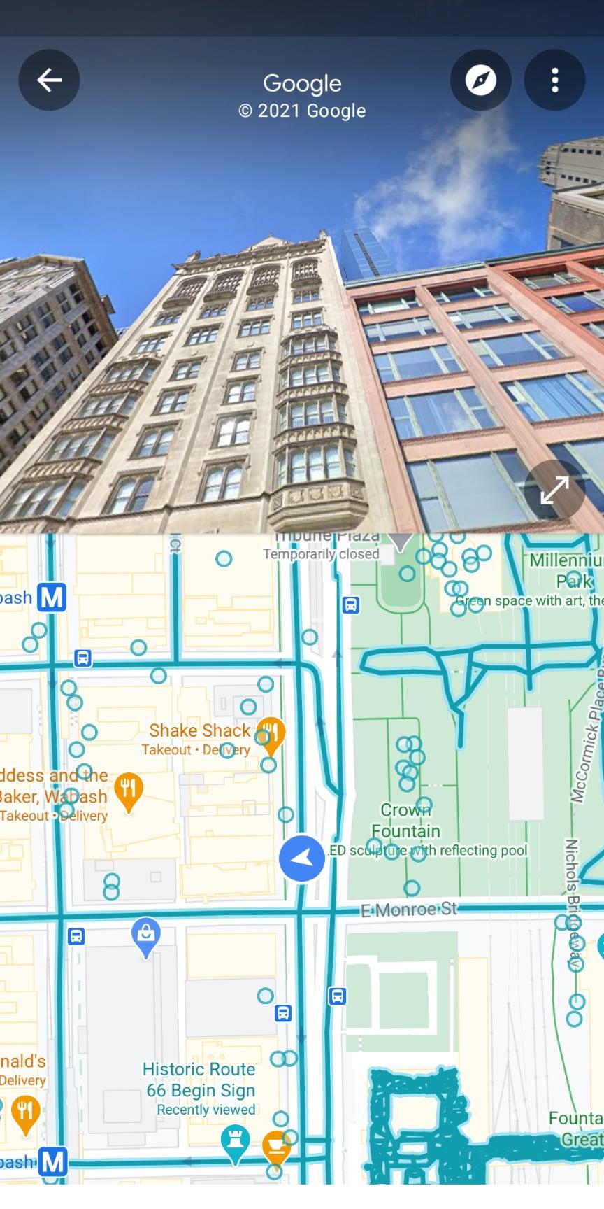 Google Maps split-screen view.