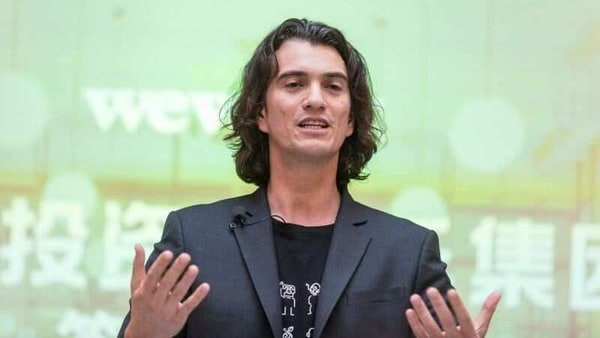 FILE PHOTO: Adam Neumann, chief executive officer of U.S. co-working firm WeWork, speaks during a signing ceremony in Shanghai, China April 12, 2018. Jackal Pan via REUTERS
