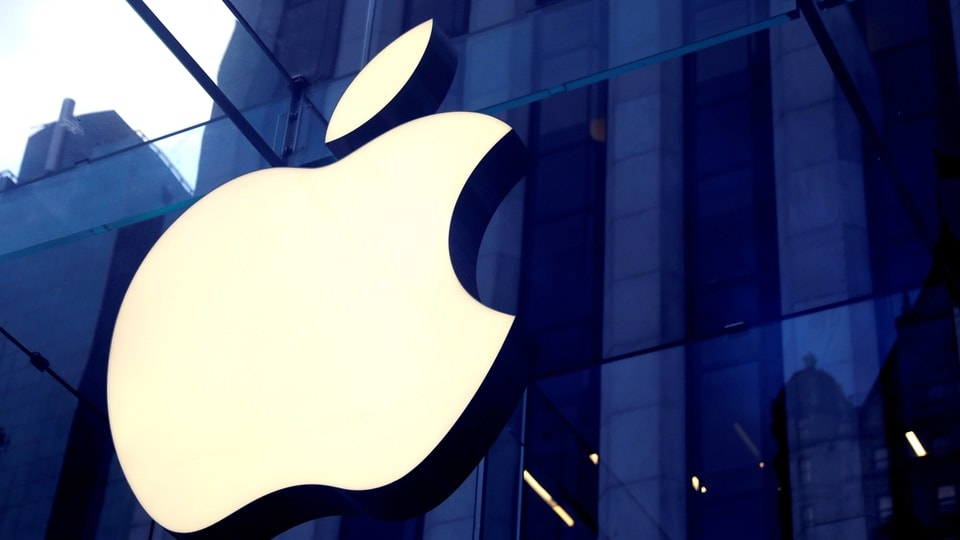 FILE PHOTO: The Apple Inc logo is seen hanging at the entrance to the Apple store on 5th Avenue in Manhattan, New York, U.S., October 16, 2019. REUTERS/Mike Segar/File Photo