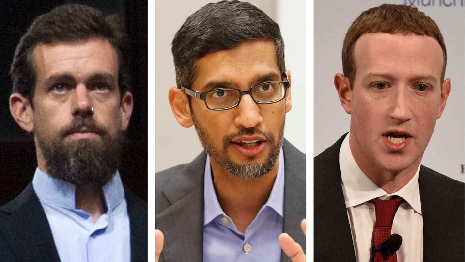 This combination of photos shows from left, Twitter CEO Jack Dorsey, Google CEO Sundar Pichai, and Facebook CEO Mark Zuckerberg.