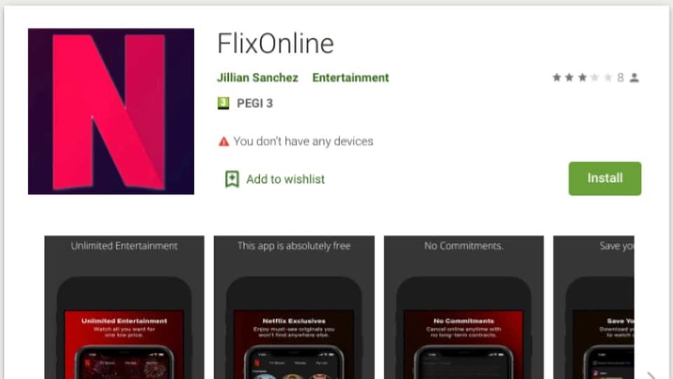 The app promises free access to Netflix content.
