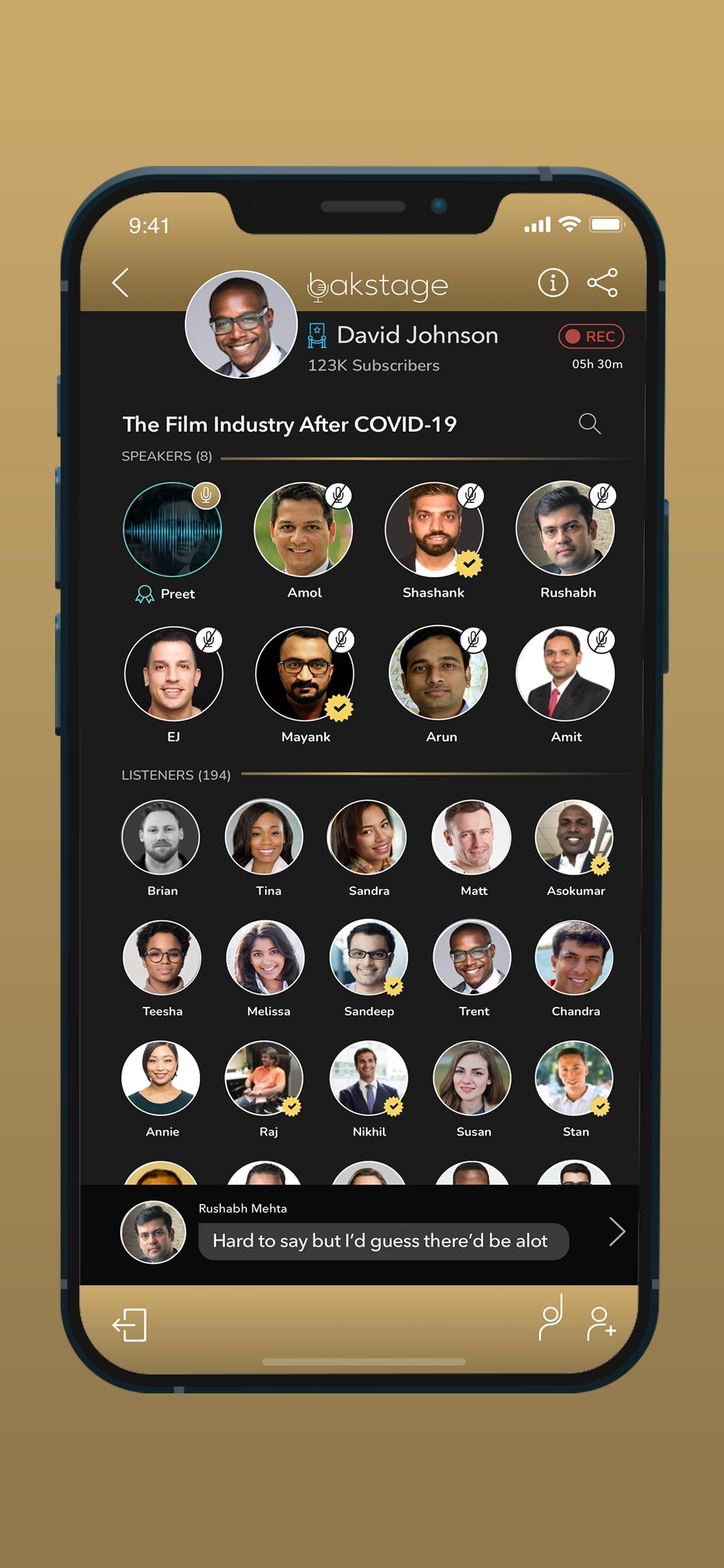 એપ્લિકેશનના આઇઓએસ વર્ઝન પર બstકસ્ટેજ વાતચીતનું ઉદાહરણ.