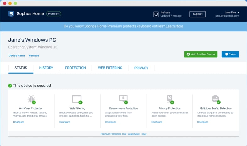 Sophos Home Free offers the most comprehensive free protection in terms of features.