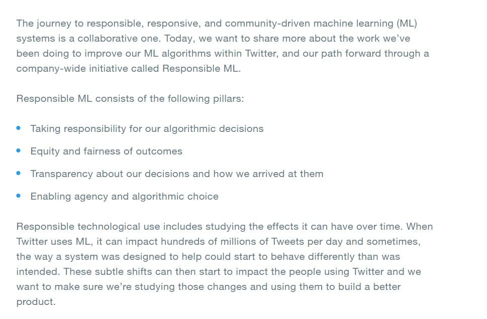 Excerpts from Twitter's new blog on Responsible ML