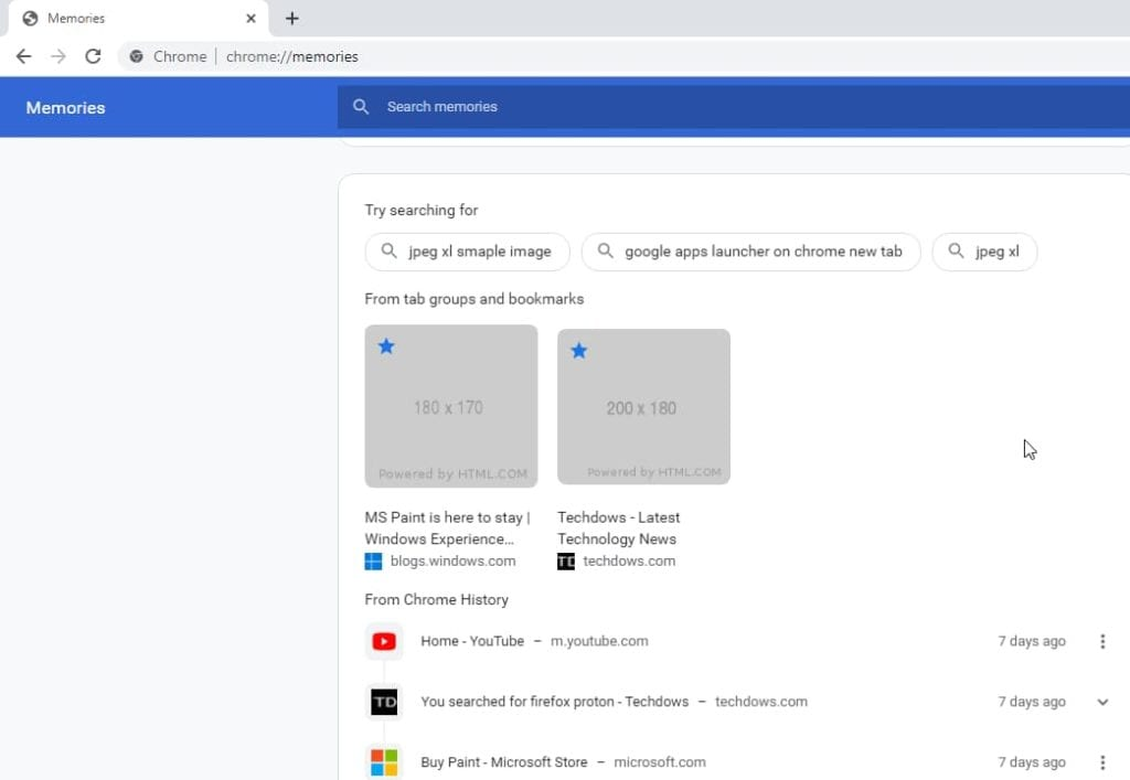 Google Chrome's Memories feature in action
