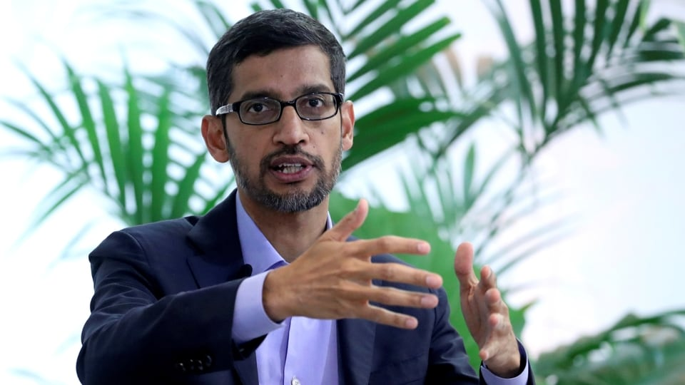 FILE PHOTO: Sundar Pichai, CEO of Google and Alphabet, speaks on artificial intelligence during a Bruegel think tank conference in Brussels, Belgium