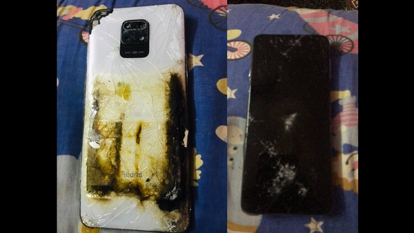 Pictures of the damaged phone that a customer shared on Twitter.