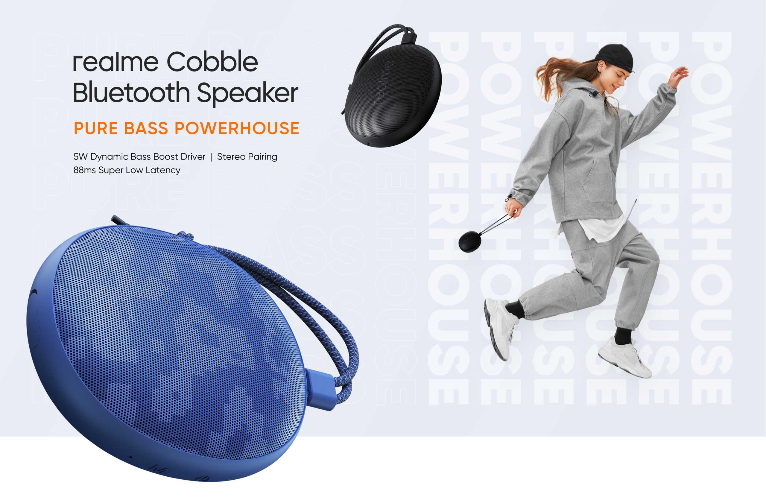 L'enceinte Bluetooth Realme Cobble ressemble à un petit caillou attaché à une couchette lumineuse.