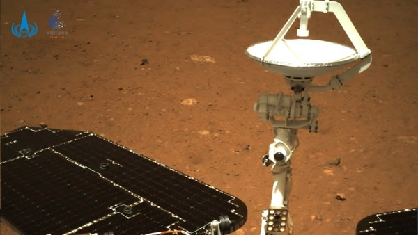An image taken on Mars by Chinese rover Zhurong of China's Tianwen-1 mission is seen in this handout image released by the China National Space Administration (CNSA), May 19, 2021.