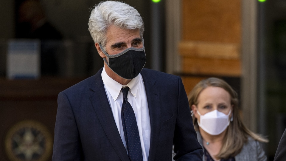 Craig Federighi, senior vice president of Software Engineering for Apple Inc., exits the U.S. district court in Oakland, California, U.S., on Wednesday, May 19, 2021. About 47,600 games are featured on Apple's App Store under the same