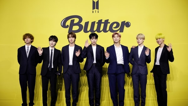 Members of K-pop boy band BTS pose for photographs during a photo opportunity promoting their new single 'Butter' in Seoul, South Korea, May 21, 2021. REUTERS/Kim Hong-Ji