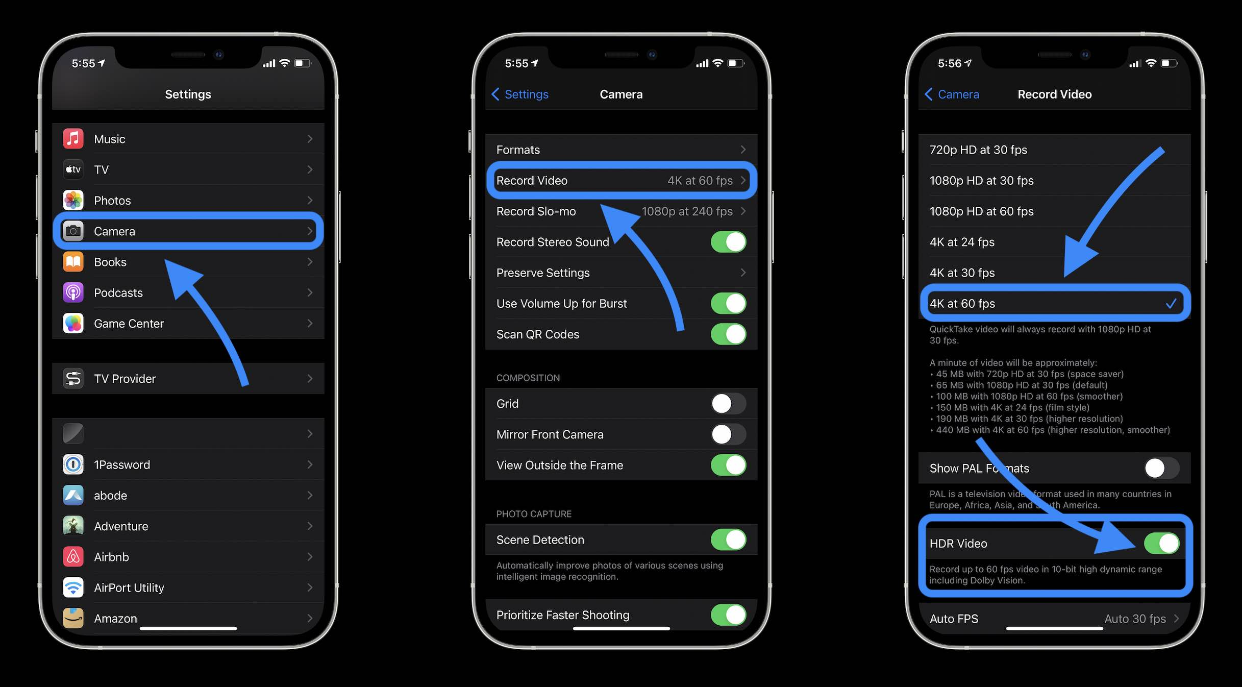 First, turn on Dolby Vision shooting on the iPhone 12 Pro and the 12 Pro Max