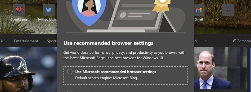 Here's the message that is displayed to Microsoft Edge users.