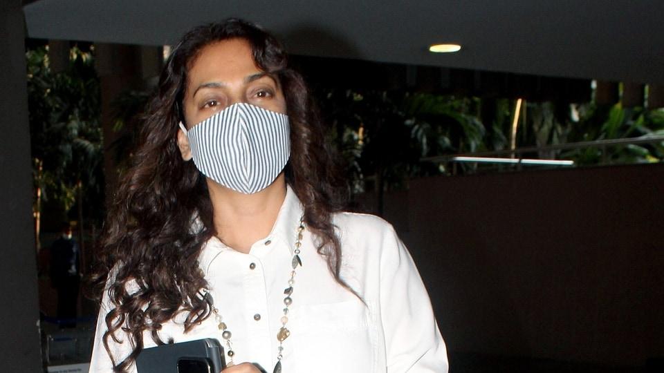 Bollywood actress Juhi Chawla spotted, at Chhatrapati Shivaji Maharaj International Airport in Mumbai on Saturday.