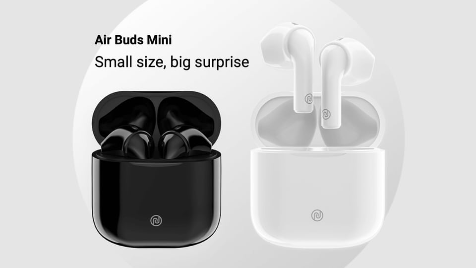 The Noise Air Buds Mini are compact and come with a glossy finish and the Noise logo can be spotted on the front of the charging case.