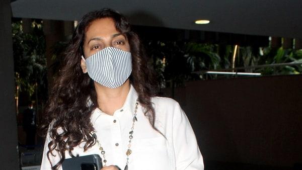 Bollywood actress Juhi Chawla spotted, at Chhatrapati Shivaji Maharaj International Airport in Mumbai in May.