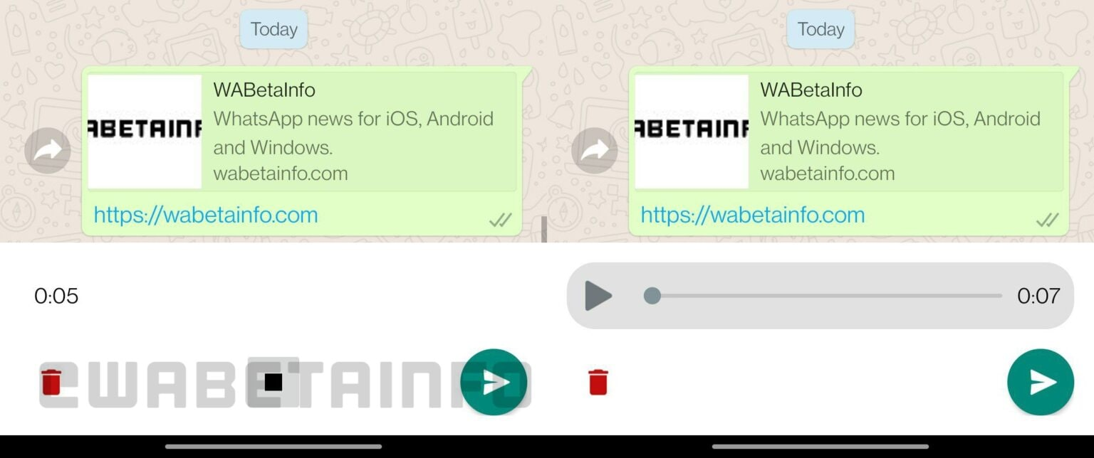 Right now you only get a cancel option for voice messages on WhatsApp as you see on the right. There is going to be a stop button soon that will let you pause a recording and hear it immediately (as seen on the left).
