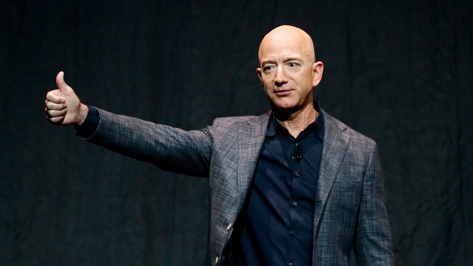 FILE PHOTO - Jeff Bezos speaks at an event before unveiling Blue Origin's Blue Moon lunar lander in Washington, in this Thursday, May 9, 2019.