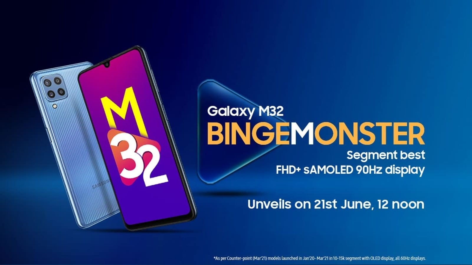 With a Samsung Galaxy M32 6,000mAh battery, the 90Hz screen will launch in India on June 21st