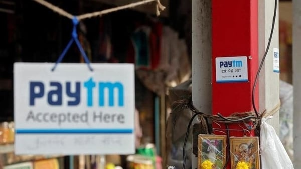 FILE PHOTO: A Paytm placard at a local store. Users can now use the app to find vaccination slots in the country.