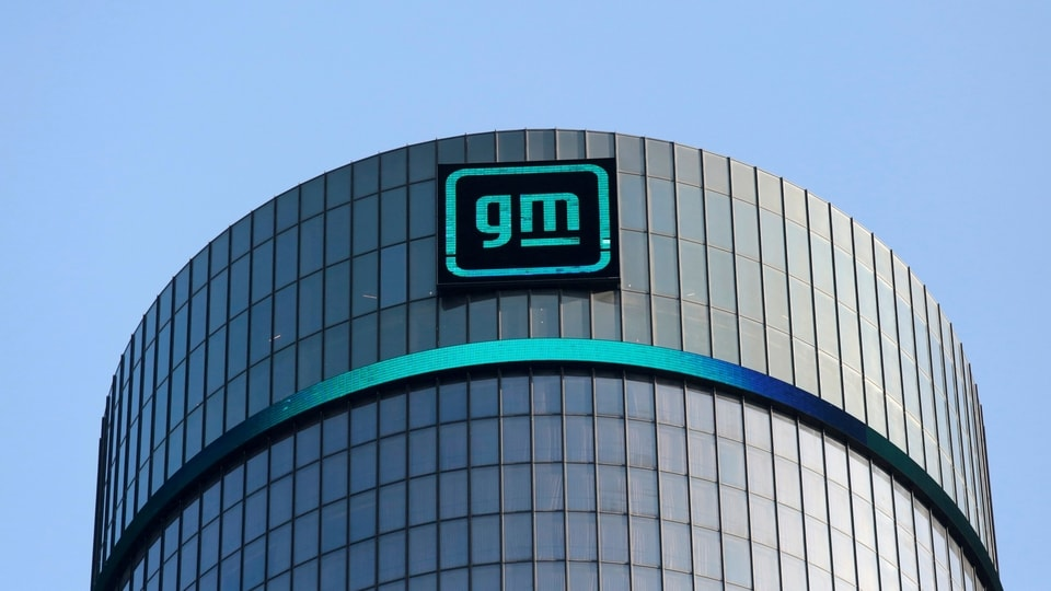 The new GM logo is seen on the facade of the General Motors headquarters in Detroit, Michigan, US, March 16, 2021.
