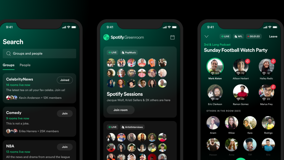 Spotify Greenroom is launching on Android and iOS globally.