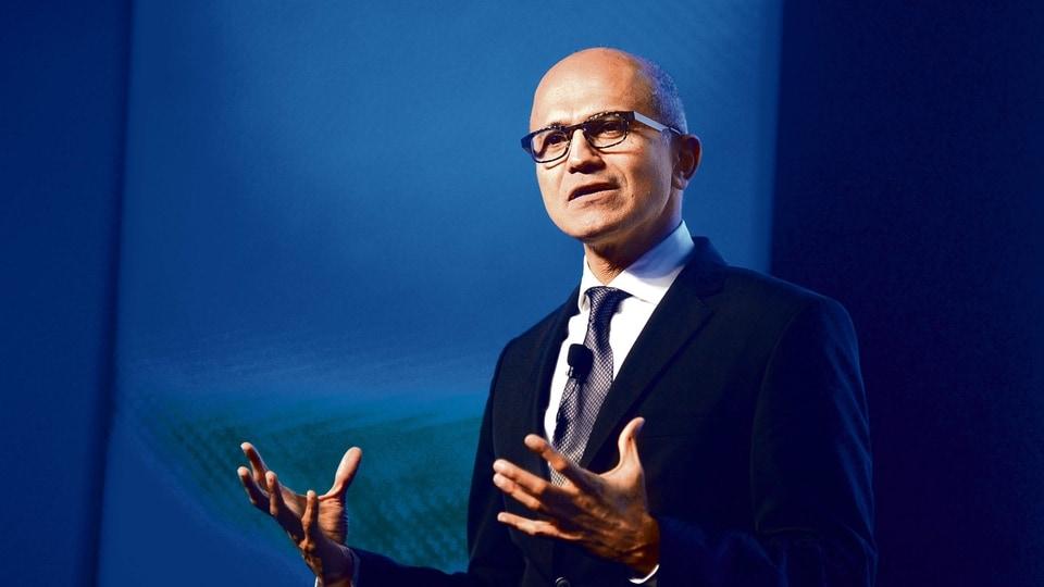 FILE PHOTO: Microsoft chief executive Satya Nadella addressing the company's virtual Ignite event.