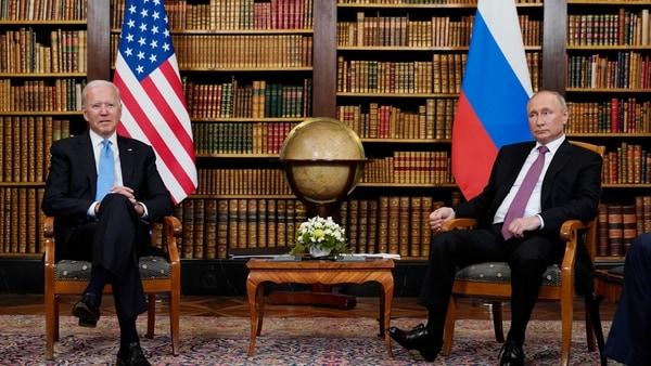 FILE - In this June 16, 2021, file photo President Joe Biden meets with Russian President Vladimir Putin in Geneva, Switzerland.