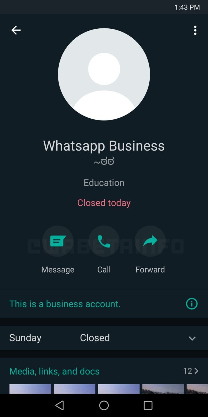 Redesigned business profile area on WhatsApp for Android.