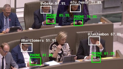 A screenshot of the The Flemish Scrollers software published by Dries Depoorter, identifying politicians using their phones.