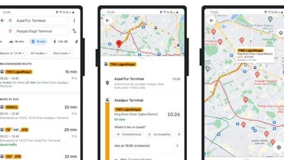 Google Maps will provide to commuters in Delhi, real-time bus information.