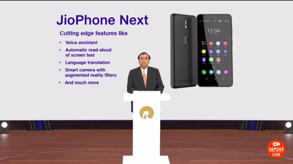 The upcoming JioPhone Next smartphone in collaboration with Google.