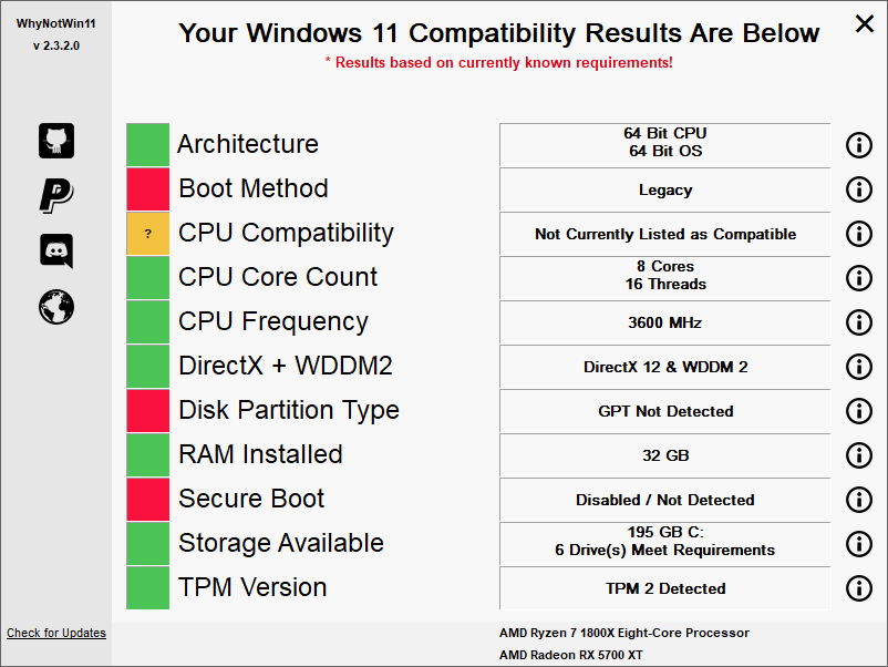 The WhyNotWin11 tool that can check if your PC is compatible with Windows 11.