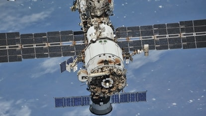 The International Space Station (ISS) photographed by Expedition 56 crew members from a Soyuz spacecraft after undocking, October 4, 2018.