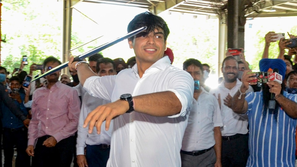 Gold medalist Neeraj Chopra throws javelin during a felicitation event at Lovely Professional University, in Jalandhar,