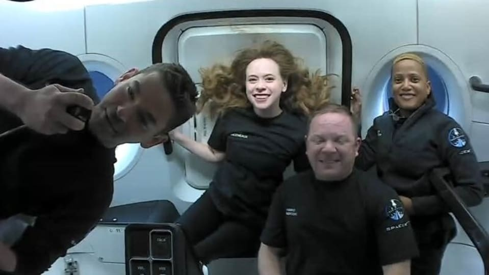 The four crew members shared their experiences in space during a 10-minute live webcast with mission control on Friday.