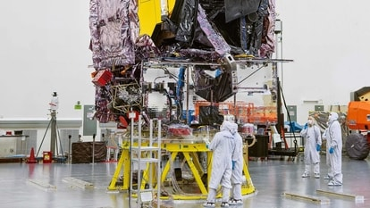 This NASA photo released on September 8, 2021 shows that, after successful completion of its final tests, NASA's James Webb Space Telescope is seen being prepared for shipment to its launch site at Northrop Grumman''s facilities in Redondo Beach, California. NASA plans to launch the James Webb Space Telescope into orbit on December 18, 2021, to serve as the premier deep space observatory for the next decade. The agency set the new target launch date in coordination with Arianespace after Webb recently and successfully completed its testing regimen - a major turning point for the mission. The new date also follows Arianespace successfully launching an Ariane 5 rocket in late July and scheduling a launch that will precede Webb.