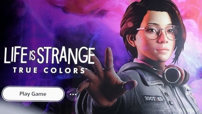 This picture taken on September 8, 2021, in Brussels shows a screen displaying on a Playstation 5 the video game Life is Strange: True Colors developed by American studio Deck Nine Games and Japanese publisher Square Enix.