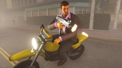The trailer shows glimpses of Grand Theft Auto 3 The Definitive Edition, Grand Theft Auto: Vice City The Definitive Edition, and Grand Theft Auto: San Andreas The Definitive Edition, bathed in the updated graphics system.