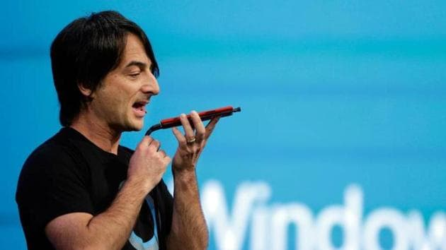 Microsoft corporate vice president Joe Belfiore, of the Operating Systems Group, demonstrates the new Cortana personal assistant during the keynote address of the Build Conference in San Francisco. Photo: AP/Eric Risberg