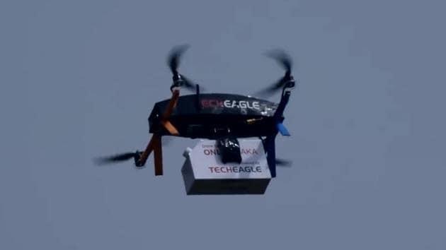 Drone Chai (Tea) Delivery in India by TechEagle.