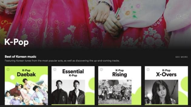 Popular K-Pop playlists on Spotify.