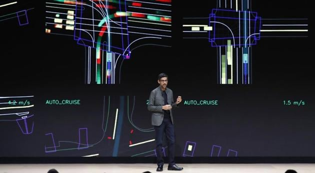 Google CEO Sundar Pichai speaks during a Google keynote address announcing a new video gaming streaming service named Stadia that attempts to capitalize on the company's cloud technology and global network of data centers, at the Gaming Developers Conference in San Francisco, California, U.S., March 19, 2019.