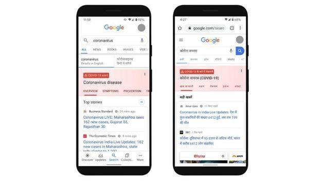 Google has updated Search with information on Covid-19 in English and Hindi.