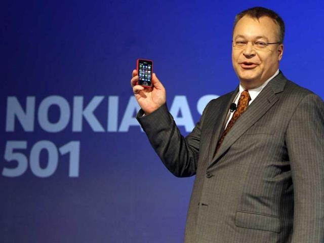 Nokia chief executive officer Stephen Elop displays a Nokia Asha 501 smartphone during its launch in New Delhi. (AP)
